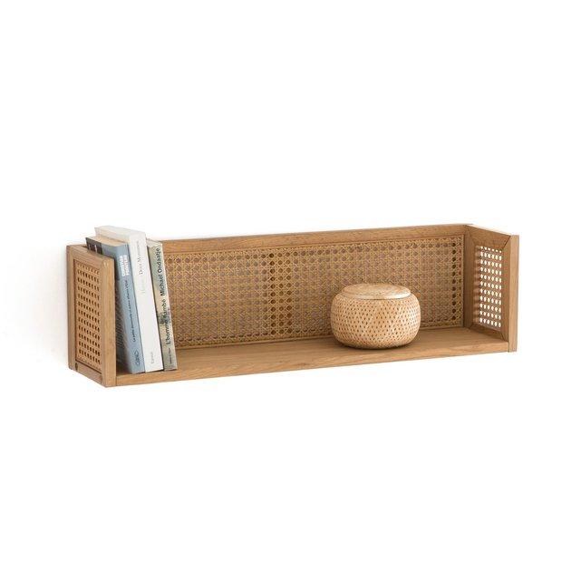 Ραφιέρα τοίχου από ξύλο δρυ και ψάθα, Waska
