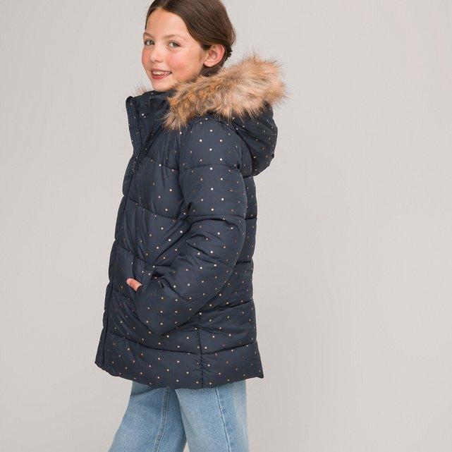 Καπιτονέ μπουφάν με αστεράκια και με κουκούλα, 3-12 ετών