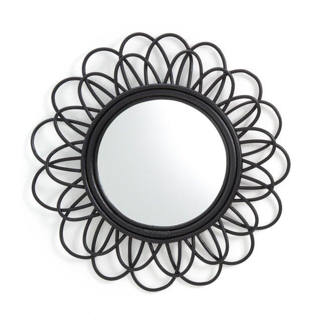 Καθρέφτης από μαύρο ρατάν σε σχήμα διπλού λουλουδιού Δ60 εκ., Nogu