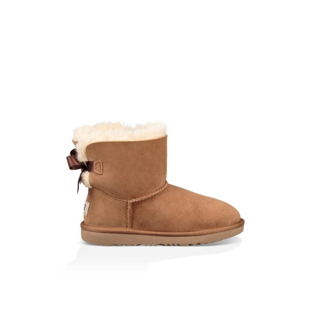 Kids Mini Bailey Bow II Fur-Lined Suede Ankle Boots