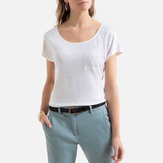 Κοντομάνικη λινή μπλούζα με στρογγυλή λαιμόκοψη
