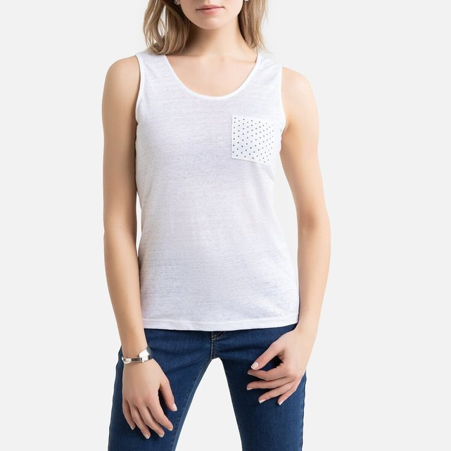 Αμάνικη μπλούζα από λινό με στρογγυλή λαιμόκοψη