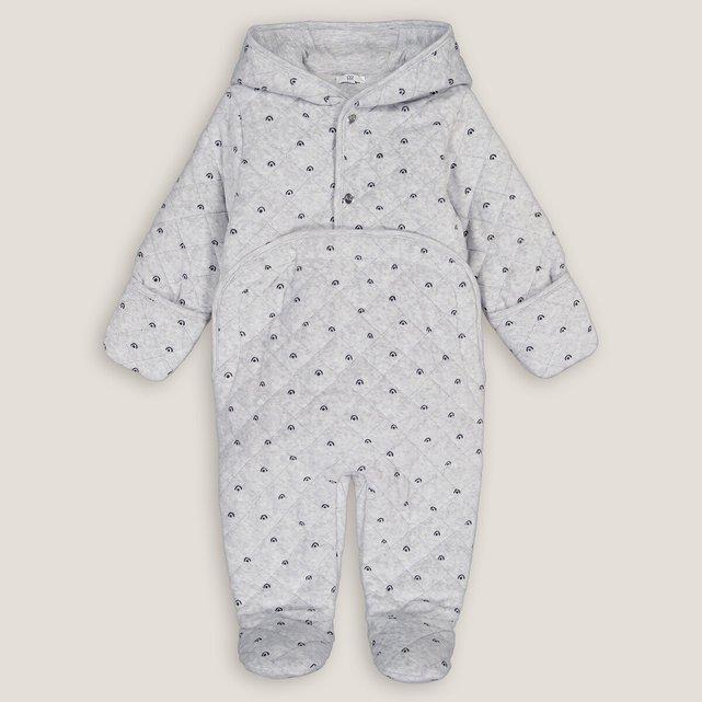Ολόσωμο βελουτέ μπουφάν με κουκούλα, 1-18 μηνών