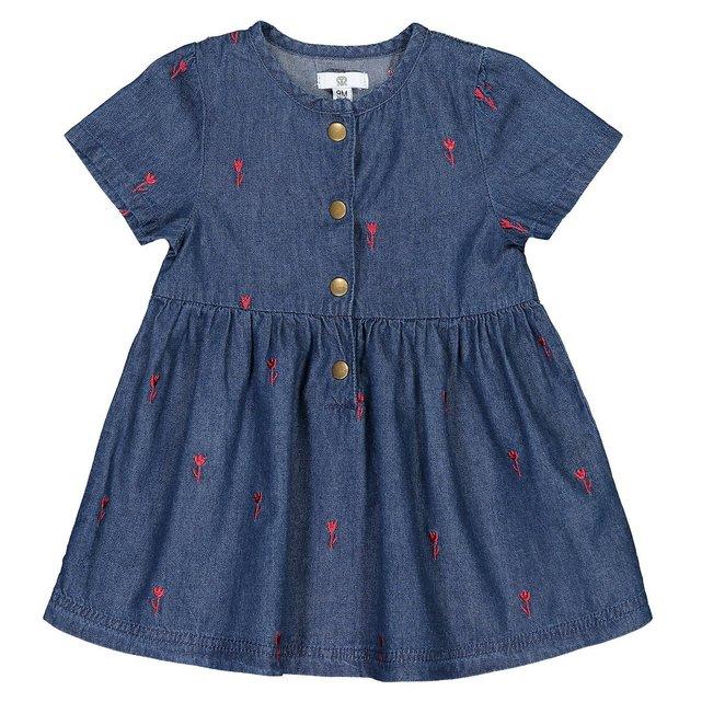 Τζιν φόρεμα με κέντημα, 1 μηνός-4 ετών