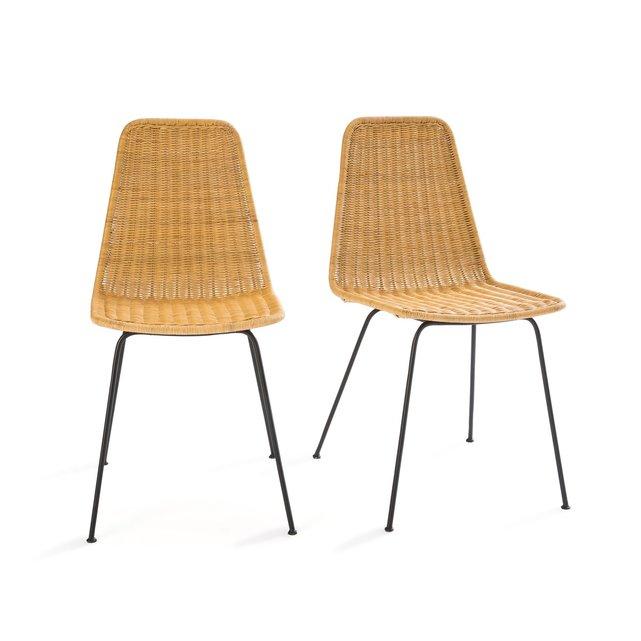 Σετ 2 καρέκλες από πλεγμένο ρατάν και μέταλλο, Roson