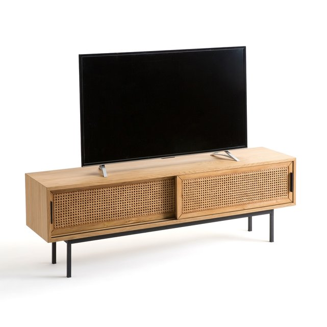 Έπιπλο τηλεόρασης από ξύλο δρυ και ψάθα 160 εκ., Waska