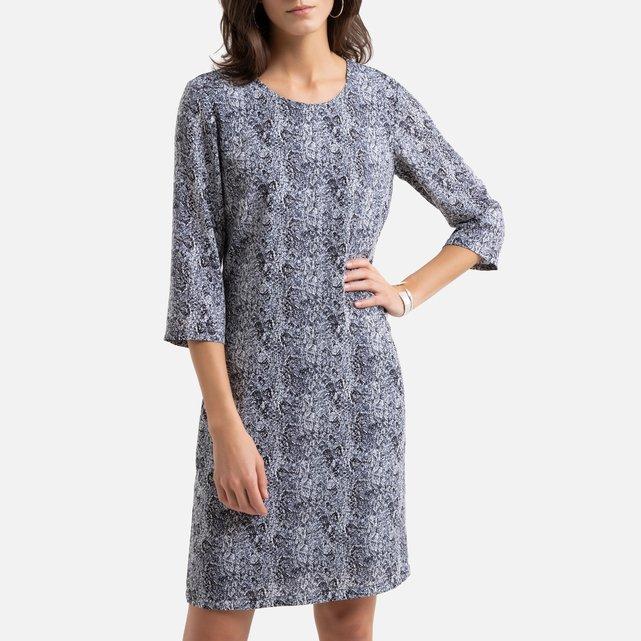 Ίσιο φόρεμα με χυτή εφαρμογή και animal print