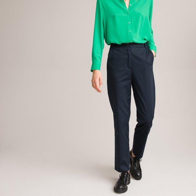 Παντελόνι slim από βαμβακερό σατέν