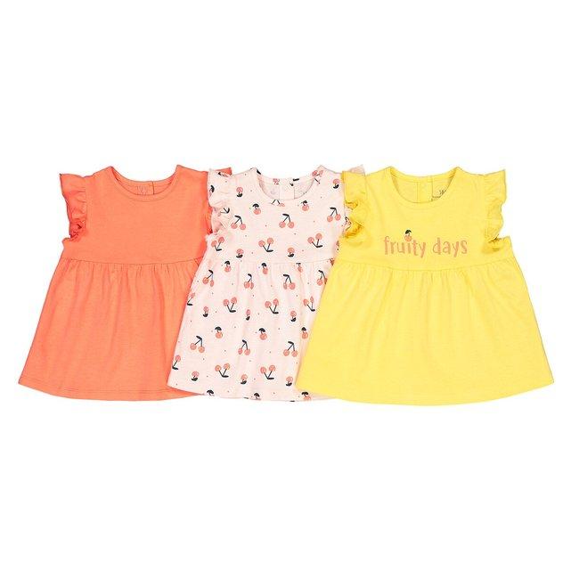 Σετ 3 αμάνικα μπλουζάκια με βολάν, 1 μηνός - 4 ετών