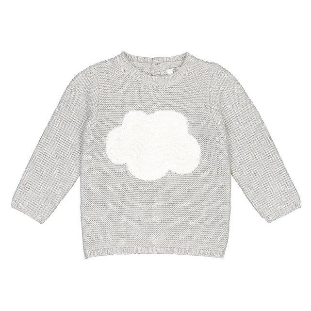 Πλεκτό με στρογγυλή λαιμόκοψη και μοτίβο σύννεφα, 1 μηνός - 3 ετών