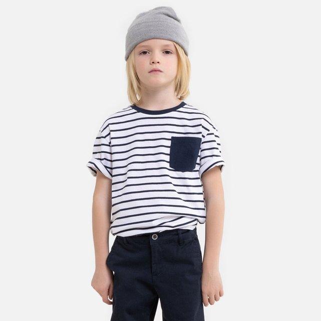 Ριγέ T-shirt με στρογγυλή λαιμόκοψη, 3-12 ετών