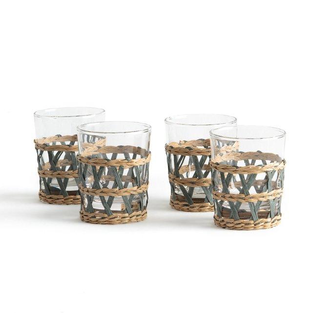 Σετ 4 ποτήρια με πλεκτή ψάθινη βάση, Qualimna