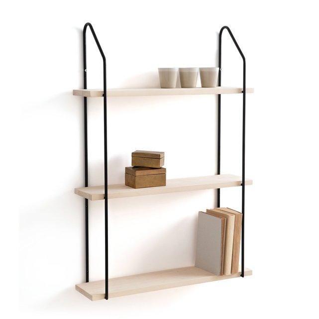 Τριπλή ραφιέρα τοίχου από ξύλο και μέταλλο, VINTO