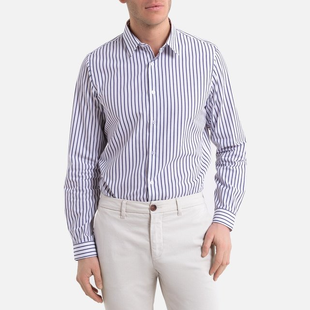 Μακρυμάνικο ριγέ slim πουκάμισο