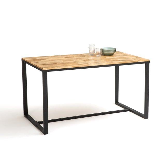 Τραπέζι κουζίνας 4 6 ατόμων από ξύλο δρυ και μέταλλο, Hiba