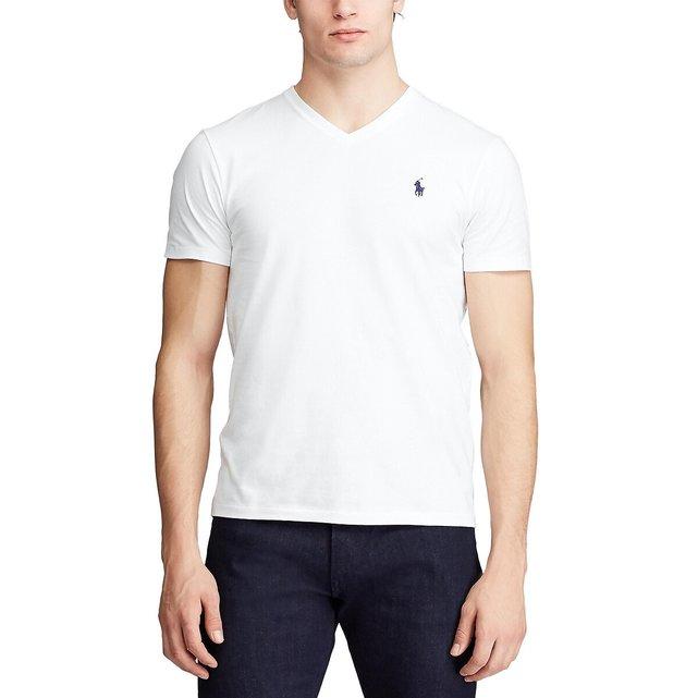 Κοντομάνικη μπλούζα με V από βαμβακερό ζέρσεϊ