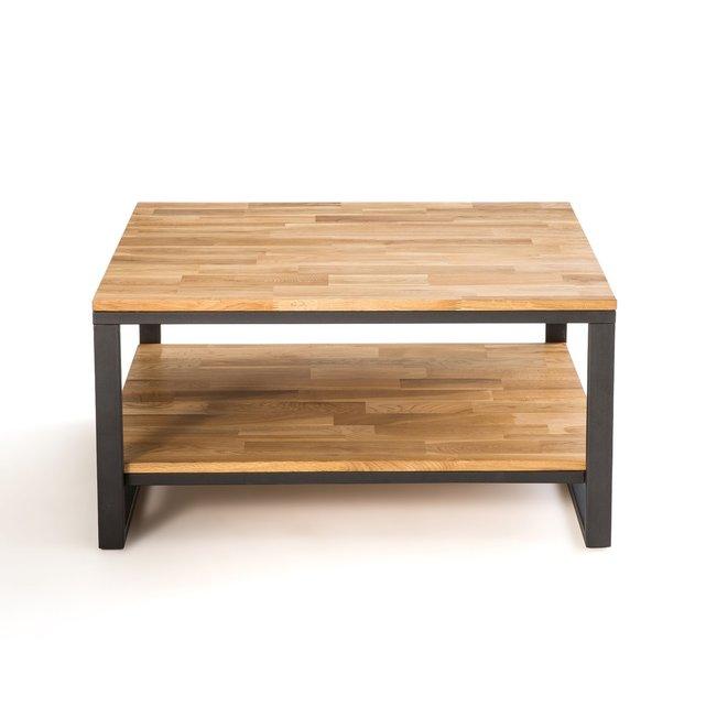 Τετράγωνο χαμηλό τραπεζάκι από ξύλο δρυ και μέταλλο, Hiba