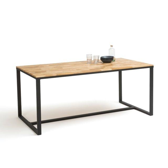 Τραπέζι φαγητού 8 ατόμων από ξύλο δρυ και μέταλλο, Hiba.