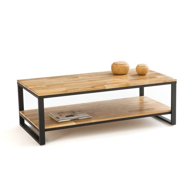Χαμηλό τραπεζάκι από ξύλο δρυ και μέταλλο, Hiba