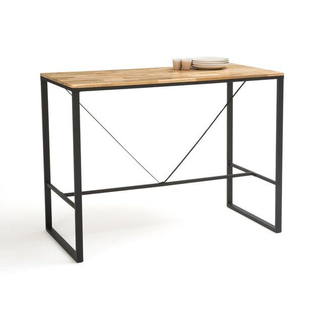 Ψηλό τραπέζι μπαρ 2 ατόμων από ξύλο δρυ και μέταλλο, Hiba