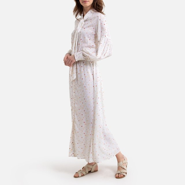 Μακρύ σεμιζιέ φόρεμα με φλοράλ μοτίβο και κορδέλες στο λαιμό