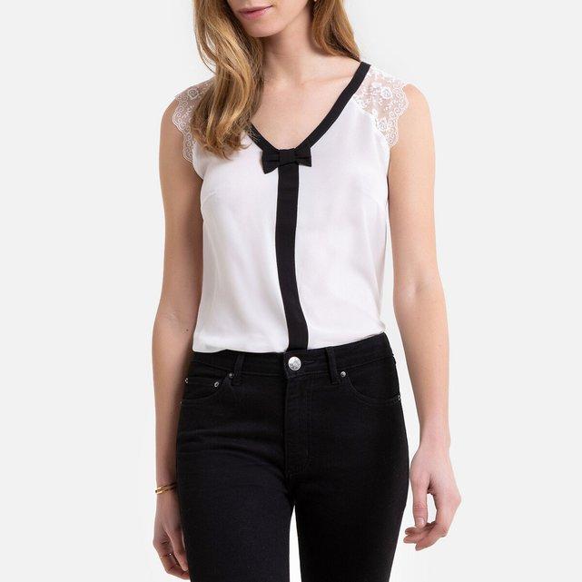 Αμάνικη μπλούζα με V