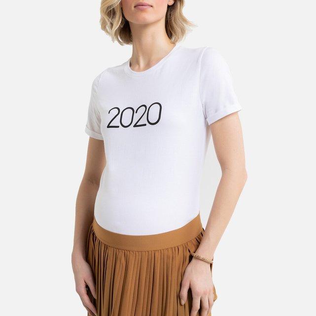 Κοντομάνικο T-shirt με στρογγυλή λαιμόκοψη και στάμπα 2020