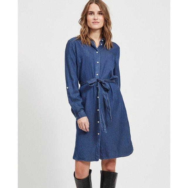 Σεμιζιέ φόρεμα με ζώνη που δένει
