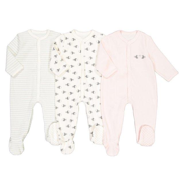 Σετ 3 βελουτέ πιτζαμάκια για νεογέννητα, πρόωρο-2 ετών
