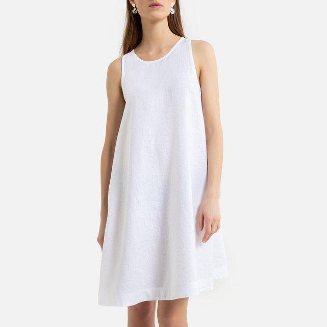 Αμάνικο εβαζέ φόρεμα από λινό