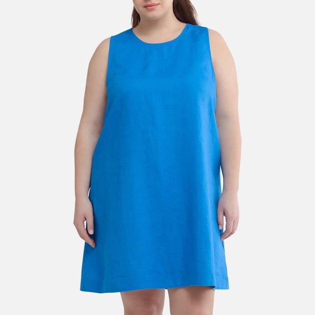 Αμάνικο κοντό φόρεμα από 100% λινό ύφασμα