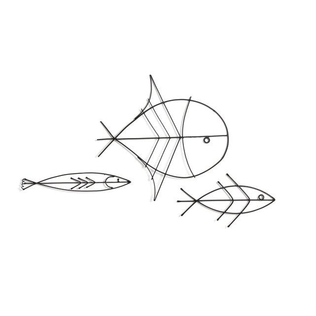 Σετ 3 διακοσμητικά ψάρια από λεπτό μεταλλικό σύρμα, Lupinus