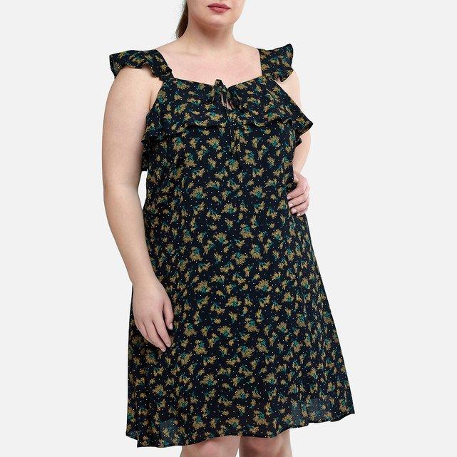 Φόρεμα με τιράντες και βολάν στο τελείωμα