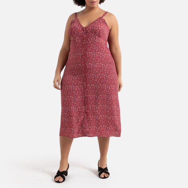 Κοντό εμπριμέ φόρεμα με λεπτές τιράντες και κουμπιά
