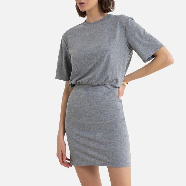 Μονόχρωμο κοντό φόρεμα με κοντά μανίκια