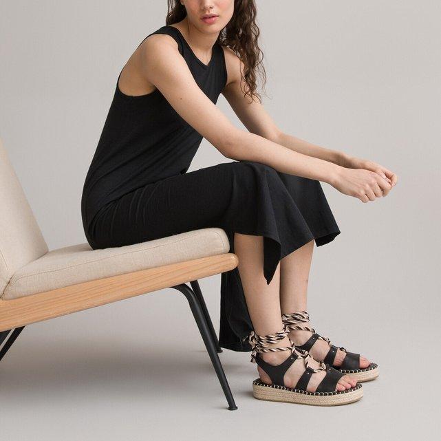 Μάξι αμάνικο φόρεμα από βαμβάκι