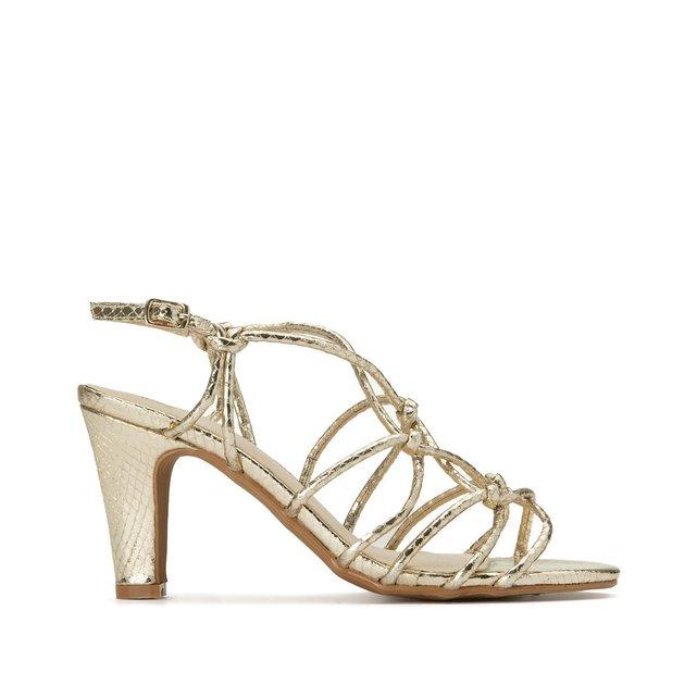 Wide Fit Heeled Sandals in Snakeskin Effect