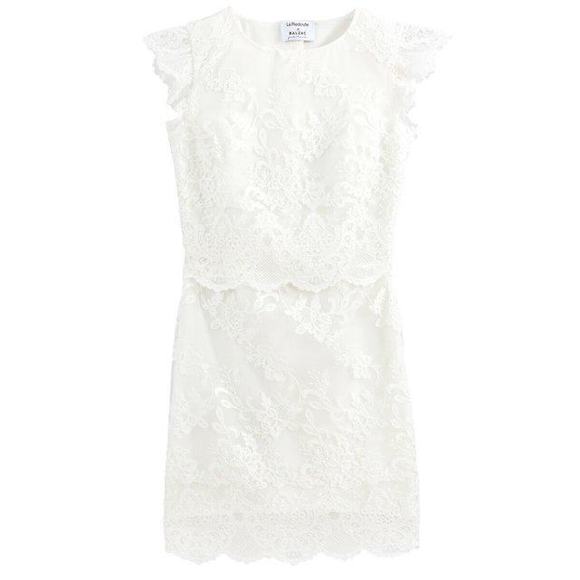 Αμάνικο κοντό νυφικό φόρεμα από γκιπούρ δαντέλα