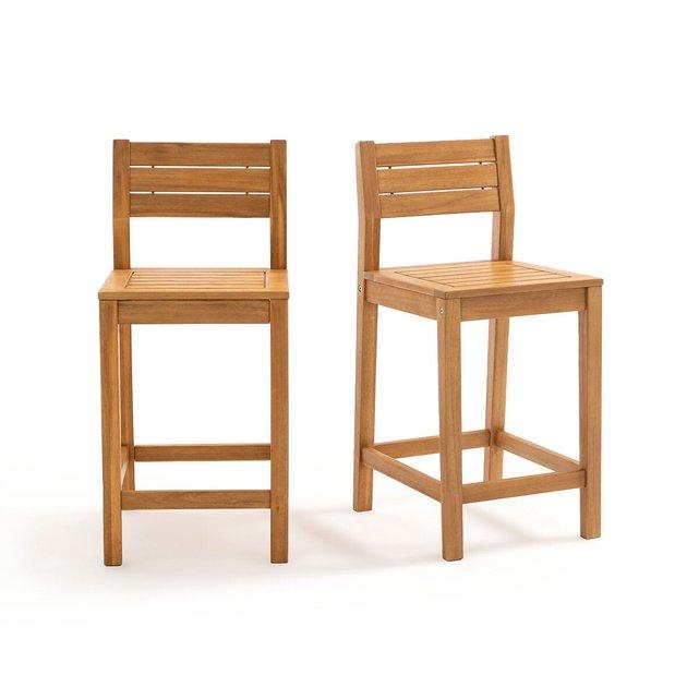 Σετ 2 καρέκλες μπαρ από ξύλο ακακίας, Garden