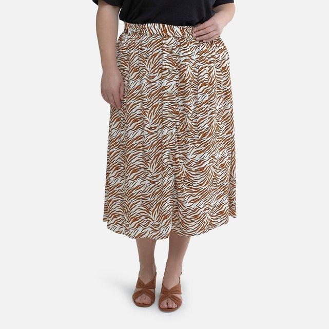 Φούστα με σούρες και animal print