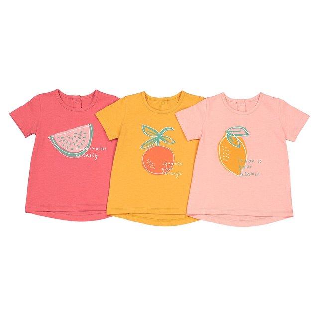 Σετ 3 T-shirt με στάμπα φρούτα, 1 μηνός-4 ετών