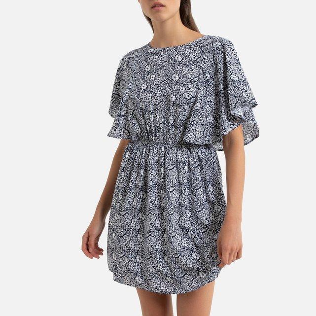 Φλοράλ φόρεμα με λάστιχο στη μέση