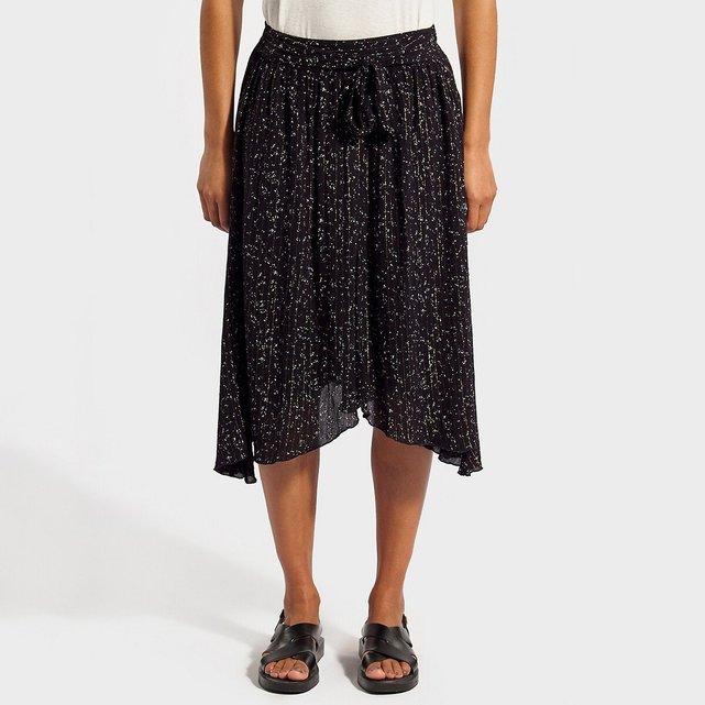 Μίντι χυτή φούστα από λεπτό ύφασμα βισκόζης