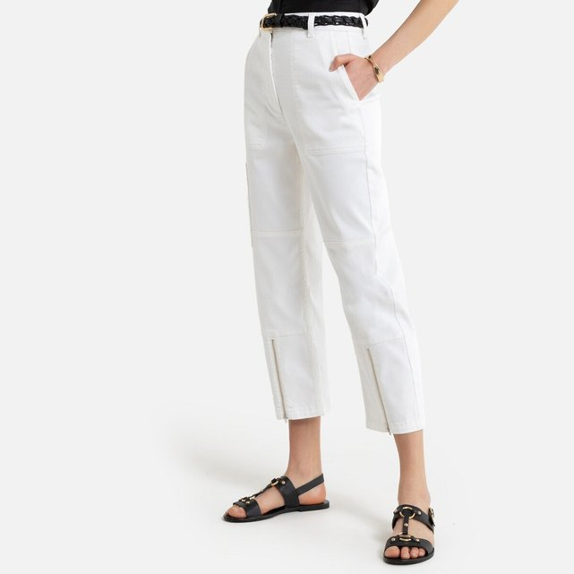 Ίσιο μιλιτέρ παντελόνι με φερμουάρ στα μπατζάκια