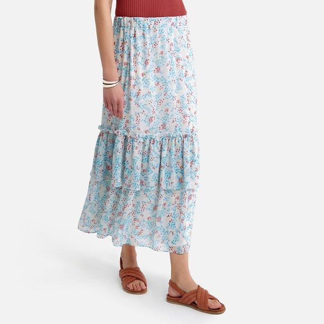 Μακριά φούστα με εμπριμέ μοτίβο και βολάν