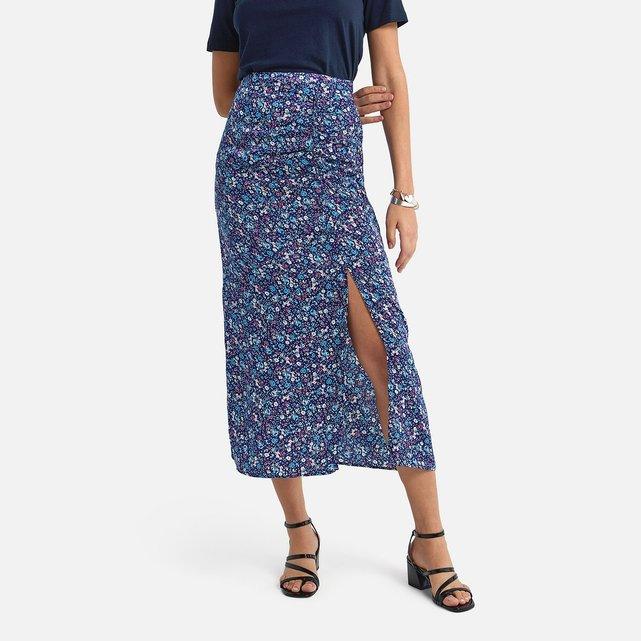 Μακριά πένσιλ φούστα με φλοράλ μοτίβο και σκίσιμο