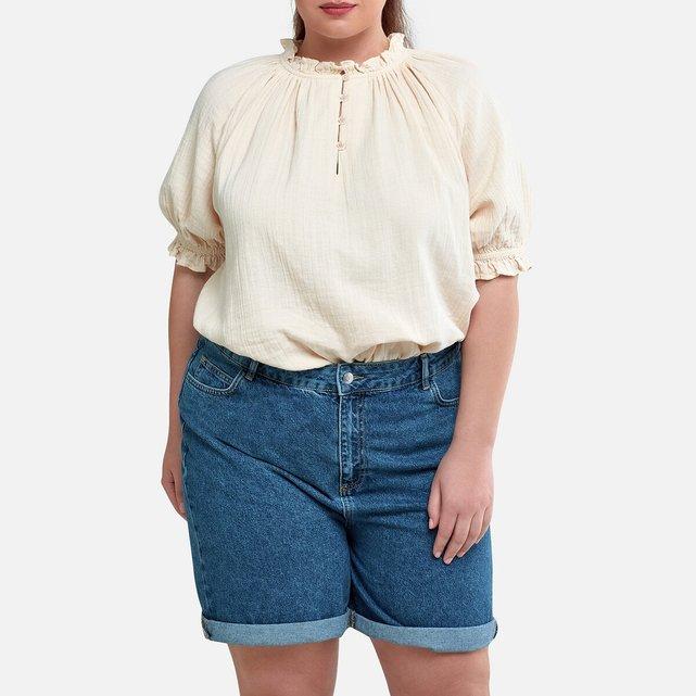 Μπλούζα με στρογγυλή λαιμόκοψη, balloon μανίκια και βολάν