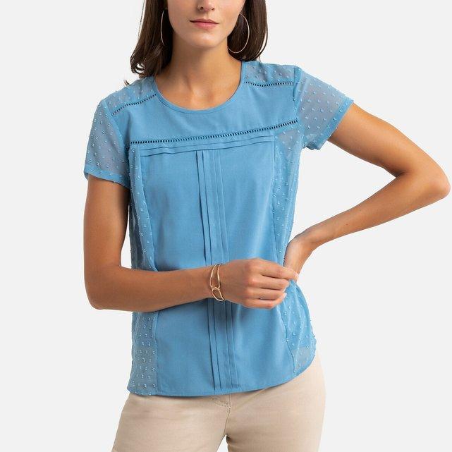 Κοντομάνικη μπλούζα από τούλι με ανάγλυφα πουά