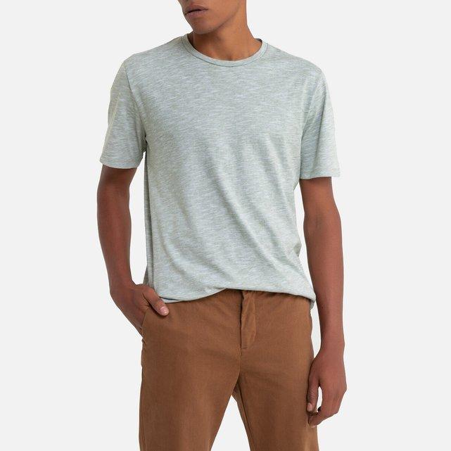 Κοντομάνικη ριγέ μπλούζα με στρογγυλή λαιμόκοψη