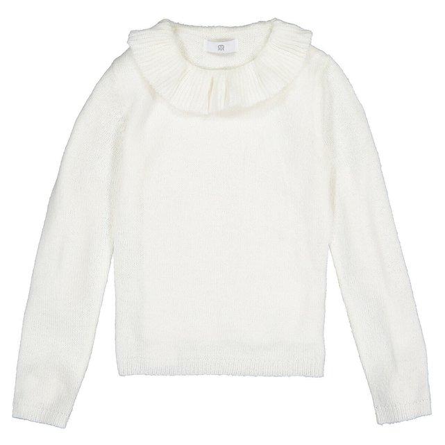 Λεπτό πλεκτό με στρογγυλή λαιμόκοψη και βολάν, 3 - 12 ετών
